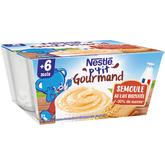 Nestlé p'tit gourmand semoule au lait biscuitée 4x100g 6m