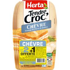 Herta Tendre Croc' chèvre et jambon x2 lots +1offert 630g