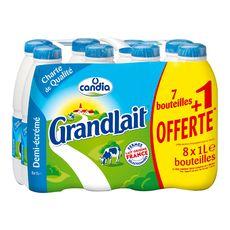 CANDIA Grandlait demi-écrémé 7x1l +1 offerte