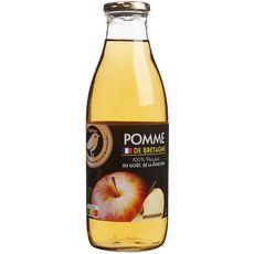 AUCHAN GOURMET Pur jus de pomme de Bretagne bouteille verre 1l
