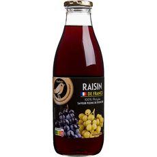 AUCHAN GOURMET Pur jus de raisin bouteille verre 1l