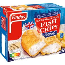 Findus colin d'Alaska façon fish and chips x4 -400g