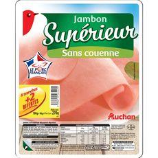 AUCHAN Auchan jambon supérieur découenné 4 tranches +2 -270g