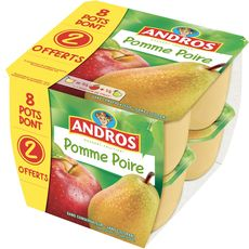 Andros compote pomme poire 8x100g dont 2offerts