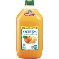Andros jus d'orange sans pulpe 1,5l dont 25% offert