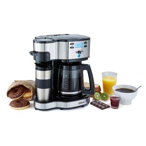 QILIVE Cafetière programmable 2 en 1 - 136254 - Inox/Noir