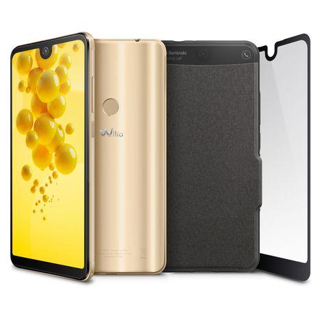 WIKO Pack Smartphone View 2 + Folio + Verre trempé - 3 Go - Doré