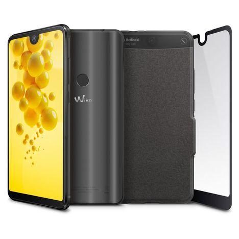 WIKO Pack Smartphone View 2 + Folio + Verre trempé - 3 Go - Anthracite
