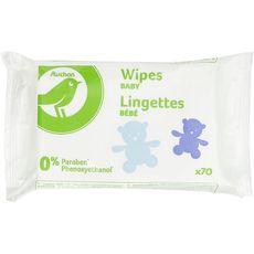 Auchan essentiel Lingettes 0% paraben pour bébé x70