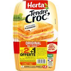 HERTA Tendre croque classique sel réduit 600g