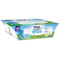 Nestlé P'tit brassé pot dessert lacté nature sucré dès 4 mois 6x60g