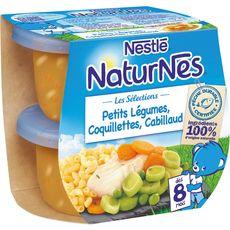 Nestlé Naturnes légumes coquillettes cabillaud dès 8 mois 2x200g