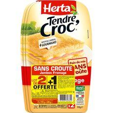 Herta tendre croque jambon sans croûte x2 +1offert 630g