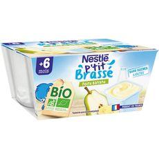 NESTLE P'tit brassé Dessert poire banane bio dès 6 mois 4x90g