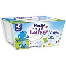 Nestlé P'tit laitage petit pot dessert lacté nature sucré dès 6 mois 4x100g