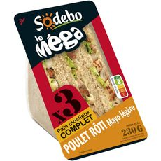 Sodebo Sandwich complet poulet et mayonnaise 230g