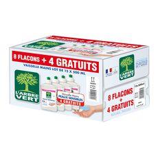 Arbre Vert liquide vaisselle peau sensible 8x500ml +4offerts