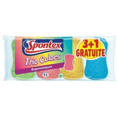SPONTEX Spontex éponge ergonomique trio colors x3 +1offerte