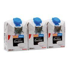 AUCHAN Junior-Adult briques de boisson lactée pour chaton et chat 3x200ml