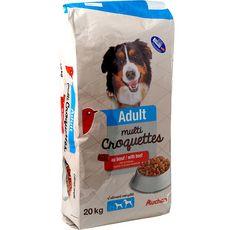 AUCHAN Adult multicroquettes au boeuf pour chien 20kg