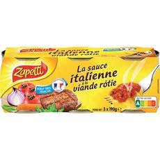 Buitoni ZAPETTI Zapetti Sauce tomate italienne à la viande rôtie bœuf 100% français 3x190g