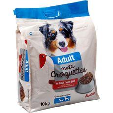 AUCHAN Adult multicroquettes au boeuf pour chien 10kg