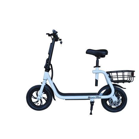 MOOVWAY Scooter électrique Pliable avec selle E-scooter City Moov Blanc