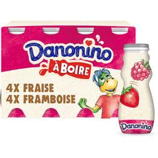 DANONINO Yaourt à boire fraise framboise 8x100g