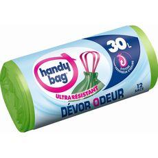 Handy bag sacs poubelles dévor odeurs lien coulissant 12x30l