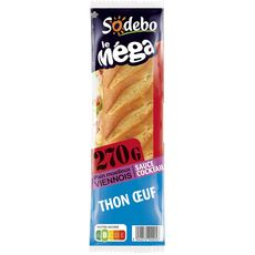 Sodebo Sandwich méga viennois thon, oeuf, tomate, salade 270g