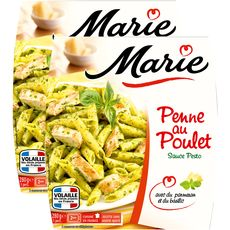 MARIE Marie Penne au poulet sauce pesto x2 560g 2 portions 560g