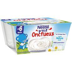 Nestlé P'tit onctueux pot dessert au fromage blanc nature dès 6 mois 4x100g