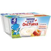 Nestlé p'tit onctueux fromage blanc pêche 4x100g dès 6 mois