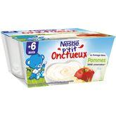 Nestlé p'tit onctueux fromage blanc pomme 4x100g 6mois