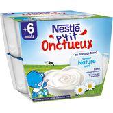Nestlé Nestlé P'tit onctueux pot dessert au fromage blanc nature dès 6 mois 8x100g