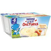 Nestlé p'tit onctueux pêche banane 4x100g dès 6 mois