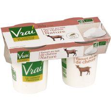 Vrai yaourt nature au lait entier de chèvre bio 2x125g