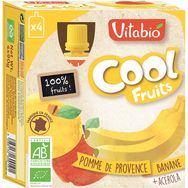 Vitabio Cool Fruits pomme banane bio 4x90g