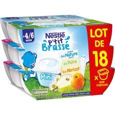 Nestlé ptit brassé nature abricot poire 18x60g dès 4/6mois