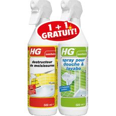 HG Spray destructeur de moisissures & spray douche & lavabo 2x500ml