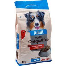 AUCHAN Adult multicroquettes au boeuf pour chien 4kg