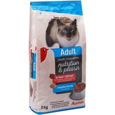 AUCHAN Adult multicroquettes fourrées au boeuf pour chat 2kg
