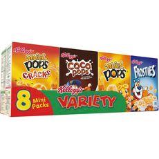Kellogg's KELLOGG'S Assortiment de mini boites de céréales Miel Pops-Coco Pops-Frosties
