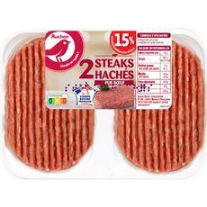 AUCHAN Steaks Hachés Pur bœuf 15%mg 2 pièces 250g