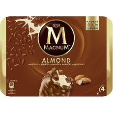 MAGNUM Magnum Bâtonnet glacé à la vanille, au chocolat et aux amandes 328g 4 pièces 328g