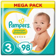 Pampers Premium protection mega pack couches taille 3 (6-10kg) x98