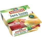 Andros dessert compote sans sucre ajouté pomme poire 4x100g
