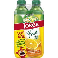 Joker Jus le fruit orange sans pulpe sans sucres ajoutés 4x1l