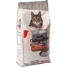 AUCHAN Multicroquettes à la dinde pour chat d'intérieur 2kg
