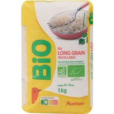 AUCHAN BIO Riz Long grain incollable prêt en 13-15min 1kg